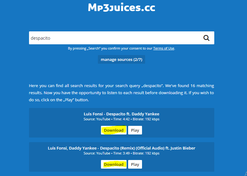 mp3juices.cc song download option