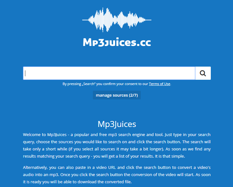 Mp3juice websites homepage