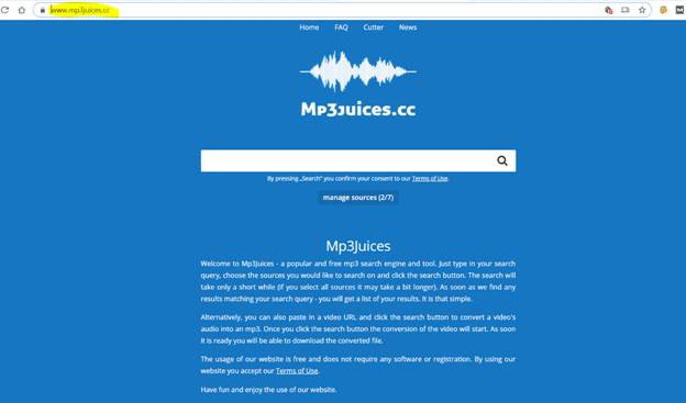 mp3juice website's screenshot
